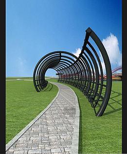 公园圆拱拱形廊道3d模型