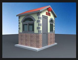 门卫,治安亭,岗楼3d模型