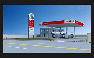 中国石化加油站3d模型