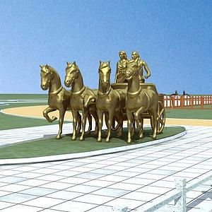 3d城市雕塑小品馬模型
