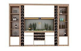 中式经典酒柜组合模型
