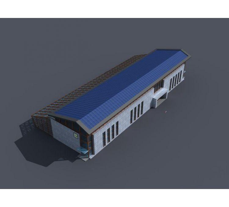 农业厂房玻璃温室大棚模型