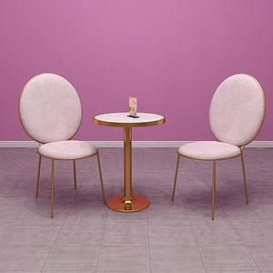 3d北欧风玫瑰金不锈钢椅子模型
