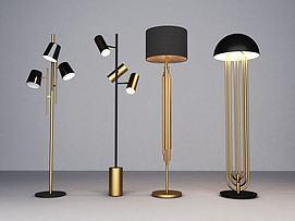 现代落地灯组合模型
