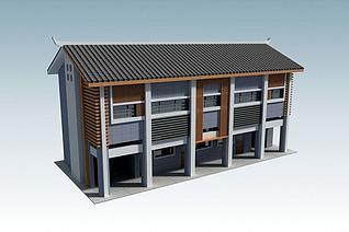 3d三层办公楼模型