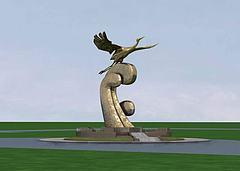 雕塑飞鹤模型3d模型