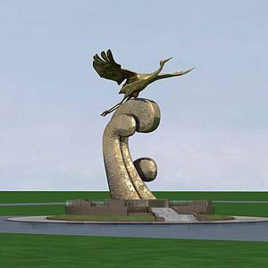 雕塑飛鶴模型3d模型
