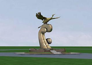 3d雕塑飞鹤模型