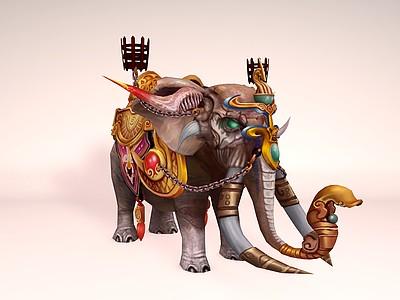 C4D游戲角色大象模型