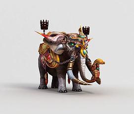 3d游戏角色大象模型