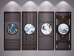 新中式雕花屏风隔断模型3d模型