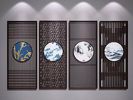 新中式雕花屏风隔断模型