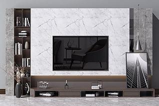 3d现代北欧电视背景墙电视柜模型