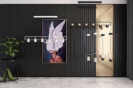 现代吊灯挂画组合模型