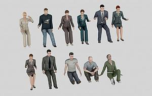 各類人物組合模型3d模型