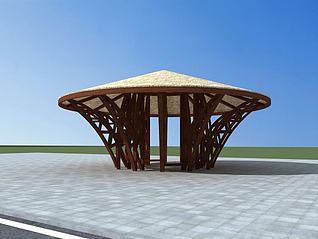 3d圆形茅草亭模型