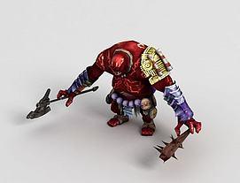 游戏角色三目巨人头领模型