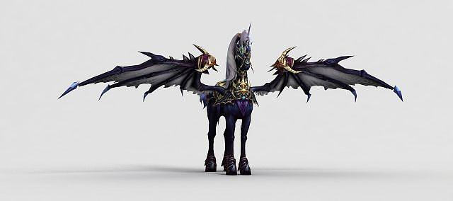 神魔坐骑天马独角兽黑模型
