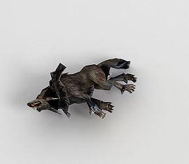 游戏角色狼尸体模型