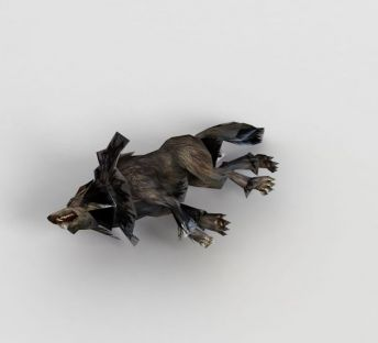游戏角色狼尸体