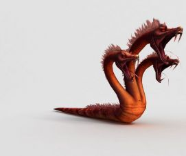游戏角色三头狂蛇模型