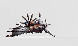 游戏道具蒸汽飞艇模型