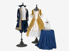男女婚纱礼服晚礼服模型