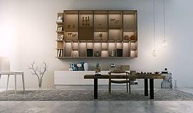 装饰墙桌椅组合模型
