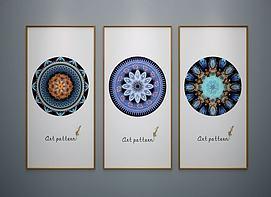 新中式装饰挂画抽象画模型