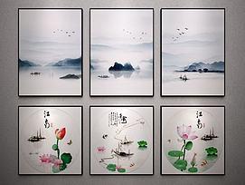 新中式装饰艺术端景挂画模型