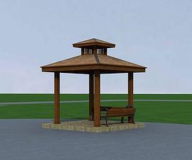 3d木亭模型