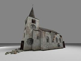 破败的教堂模型