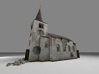 破败的教堂3d模型