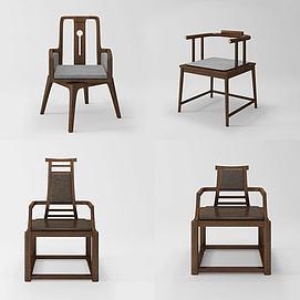 新中式实木椅组合模型