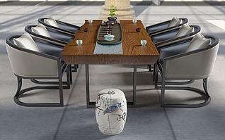 3d新中式茶桌模型