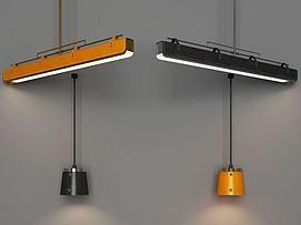 现代皮艺吊灯组合模型