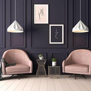 现代单人休闲沙发椅3d模型