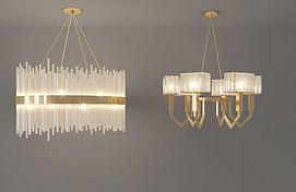 现代金属水晶吊灯模型