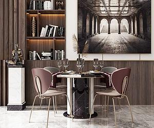 现代轻奢餐桌椅3d模型