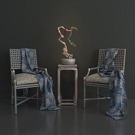中式单椅端景台组合模型