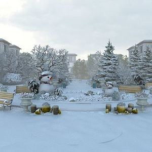雪景别墅模型3d模型