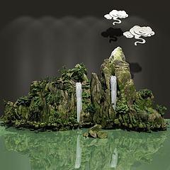 三维假山模型3d模型