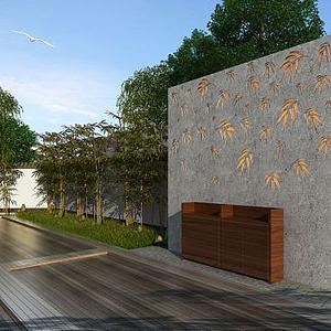 中式別墅院落景觀3d模型