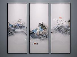 水墨画艺术端景画抽象画模型