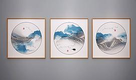 新中式装饰水墨画艺术画模型
