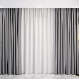 布艺窗帘纱帘模型3d模型