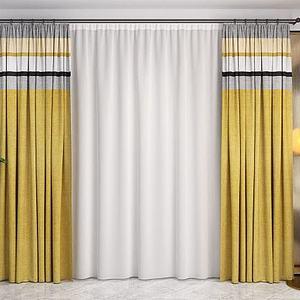 3d布藝窗簾紗簾模型