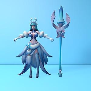 王者榮耀游戲女角色3d模型