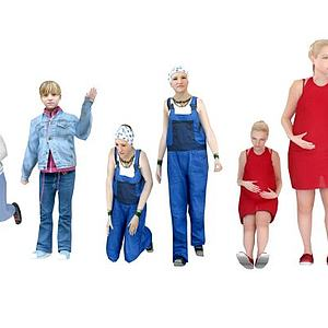 一家人大人小孩组合模型