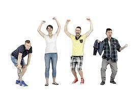 动感活力青年人物组合模型